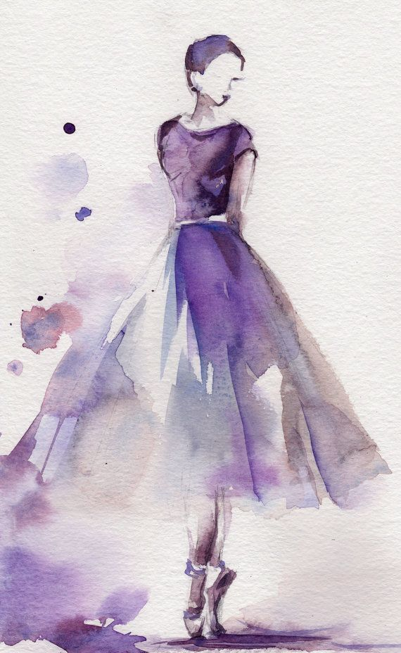 Ballerina Original Watercolor Painting Ballet Dance Watercolor Art Purple  Scale: 9x11.5 (23x29cm) Medium: Saint-Petersburg Watercolors White Nights on
