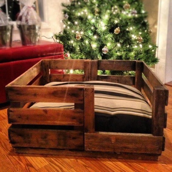 Wooden dog bed frame