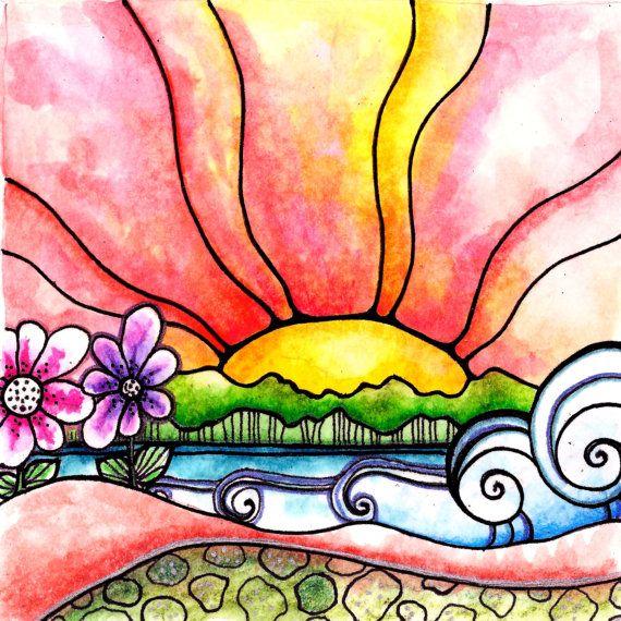 Heat Wave 8 x 8 flowers art print archival door RobinMeadDesigns, $20.00
