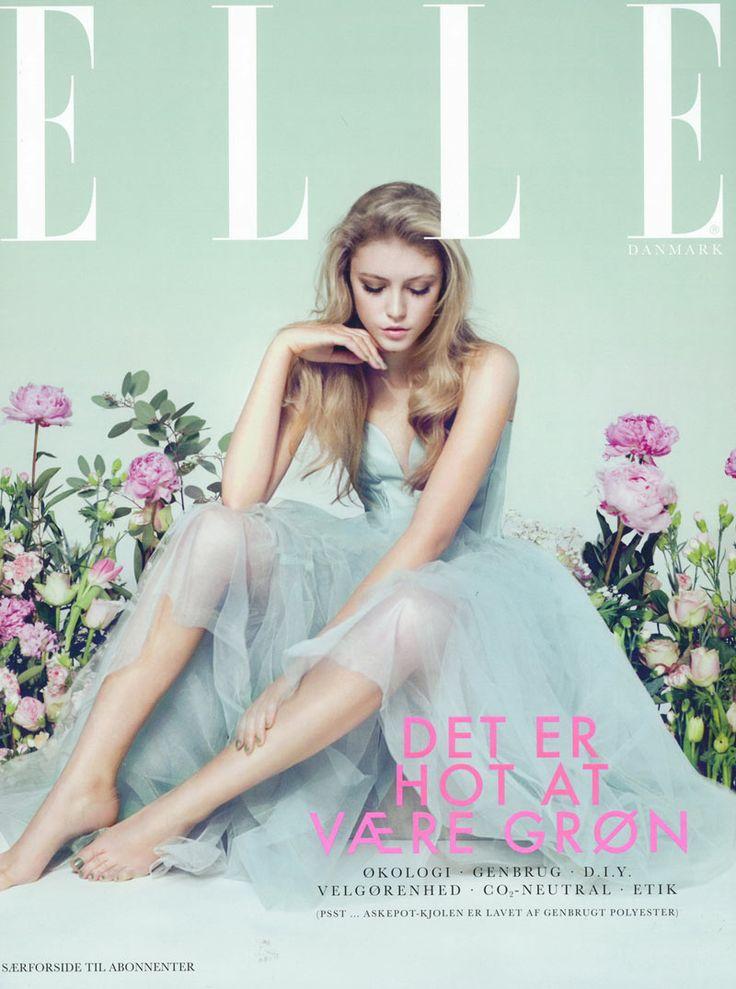 Beautiful colors! Lucia Jonova Wears Retro Florals for Elle Denmark's April 2013 Cover Shoot