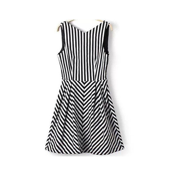 Black White V Neck Vertical Stripe Dress (£12) ❤ liked on Polyvore