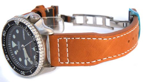 Aviator Hand Made Tan 22mm Calf Leather watchstrap For Seiko Watches
