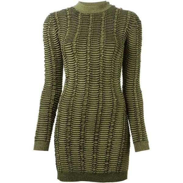 BALMAIN Fitted Ribbed Sweater (€1.260) ❤ liked on Polyvore featuring tops, sweaters, dresses, balmain, long sleeve tops, green top, ribbed top, long sleeve sweaters and fitted tops