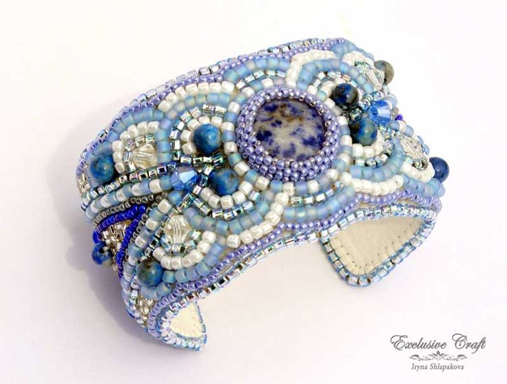 """Blue white bead embroidery cuff bracelet """"Frosted"""" with Sodalite stone, Azura Lapis Lazuli gemstone beads, Japanese seed beads and crystals. Very refreshing blue and white bead embroidered handmade br"""