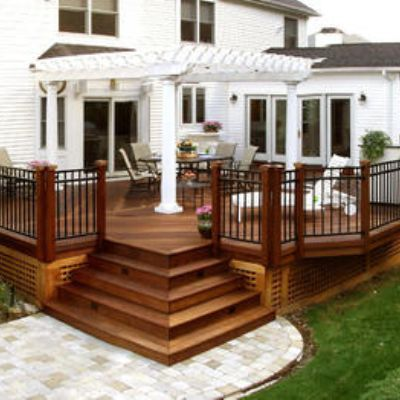 Tropical Hardwood Deck With Inset Corner Stairs