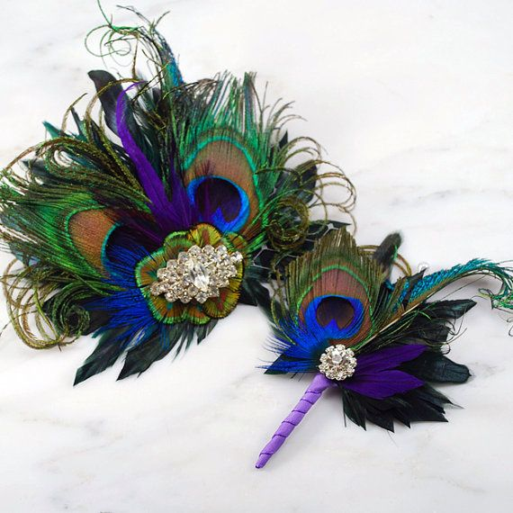 Peacock Feather and Sword Boutonniere Buttonhole by GildedShadows, $24.00
