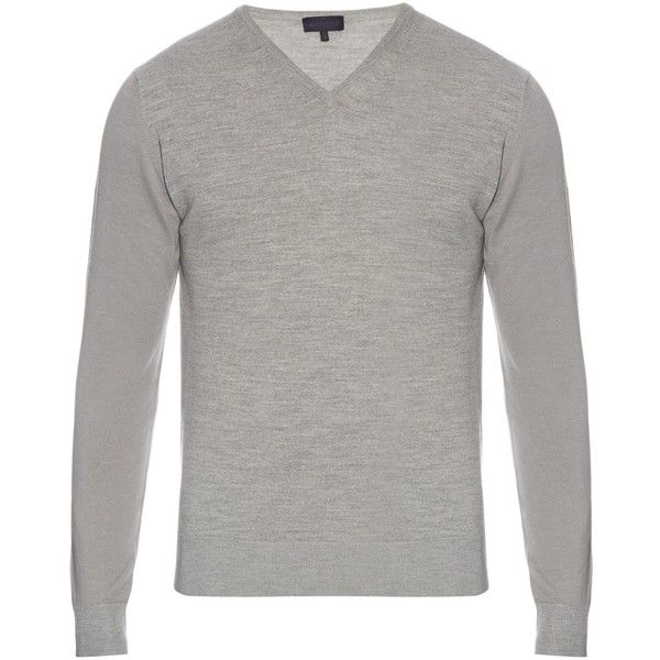 Lanvin V-neck long-sleeved wool sweater (740 BRL) ❤ liked on Polyvore featuring men's fashion, men's clothing, men's sweaters, light grey, mens wool sweaters, mens slim fit sweater, mens short sleeve sweater, mens v neck sweater and mens woolen sweaters