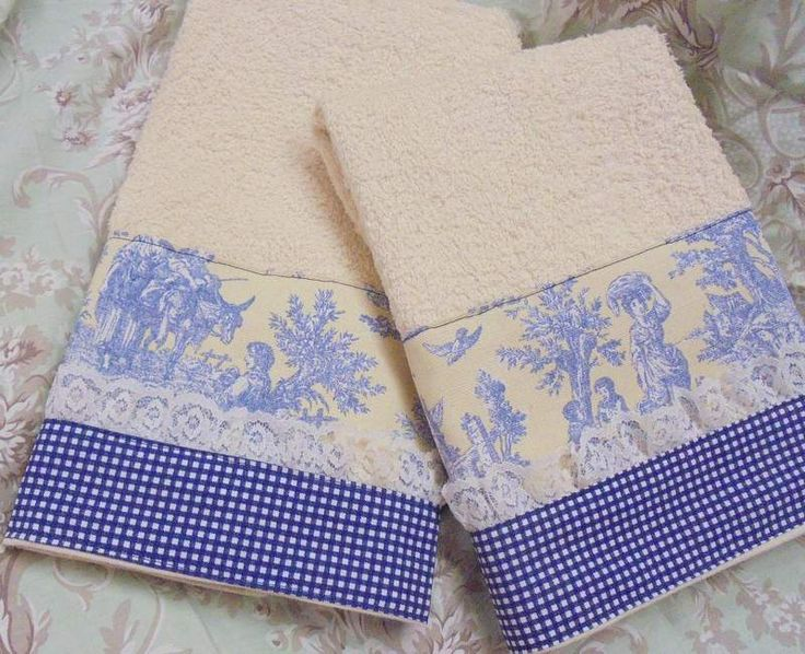 2/ WAVERLY TOILE IN BLUE fabric NAVY GINGHAM fabric on CREAM HAND Towels  #CustomDecorated #Linens