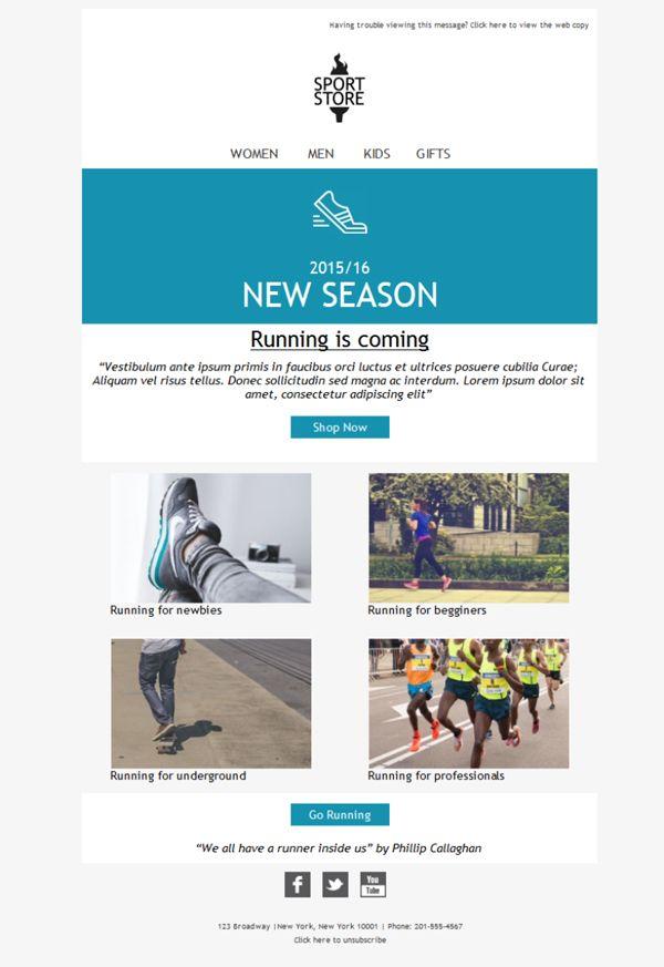 Si tienes una tienda de deporte y no haces emailing con Mailify, ¡error! Tus clientes esperan promociones, novedades, descuentos de sus artículos deportivos preferidos. Plantillas newsletter diseñadas para ti.