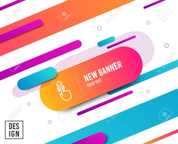 Swipe up line icon. Move finger sign. Touch technology symbol. Diagonal abstract banner. Linear swipe up icon. Geometric line shapes. Vector Illustrat…