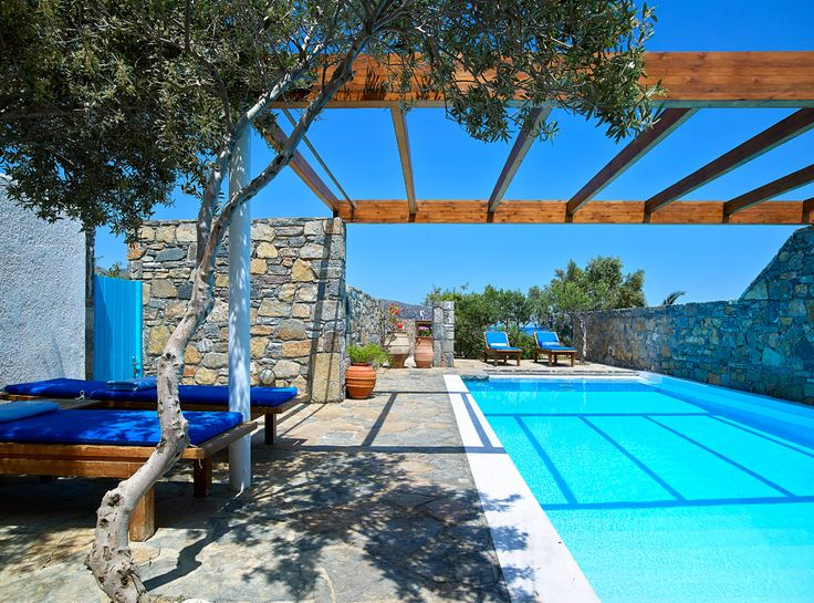 St Nicolas 2 Bedroom Family Suite with Private Pool. St Nicolas Bay Resort, Agios Nikolaos Crete. Come equipped with Master bedroom with French large bed, custom made furniture, en suite bathroom with Jacuzzi, separate cabin shower, WC and