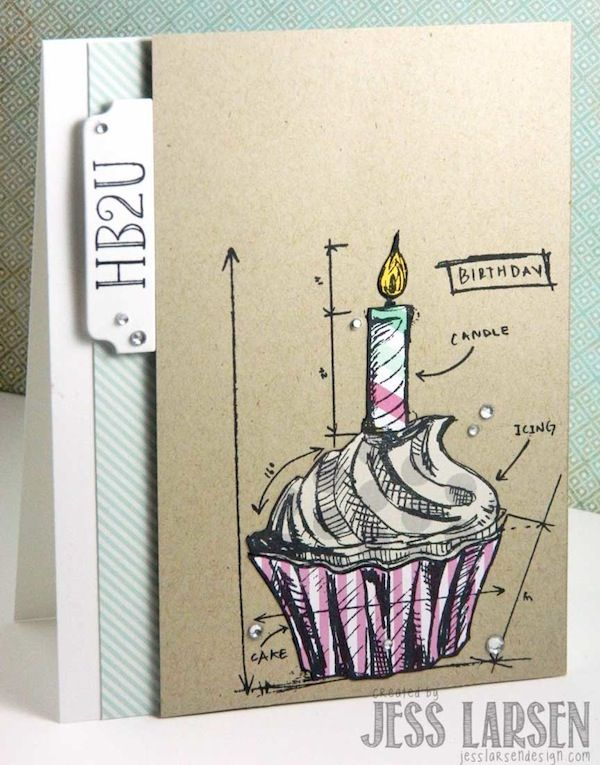 Card Created by Jess Larsen for Simon Says stamp Blog using Tim Holtz Blueprint Stamps. 2013