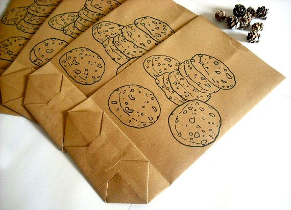 Cookie bags handmade gift hand drawn Christmas gift paper