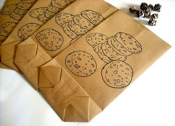 Sacchetto biscotti regalo disegnato a mano regalo di natale carta marrone idea regalo dolci sacchetti di carta grandi biscotti doodle