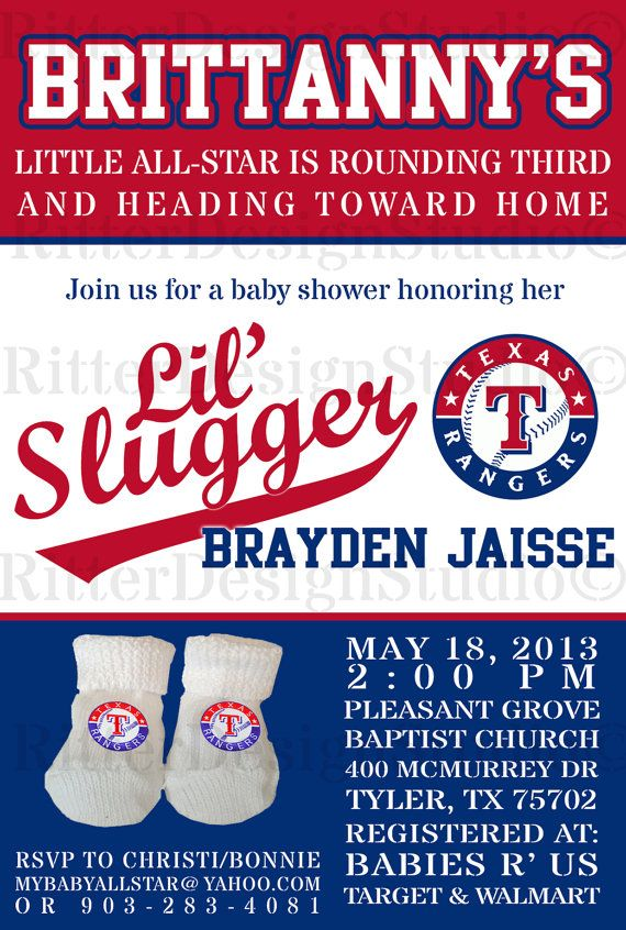 Texas Rangers Baseball Baby Shower Invitation - Printable