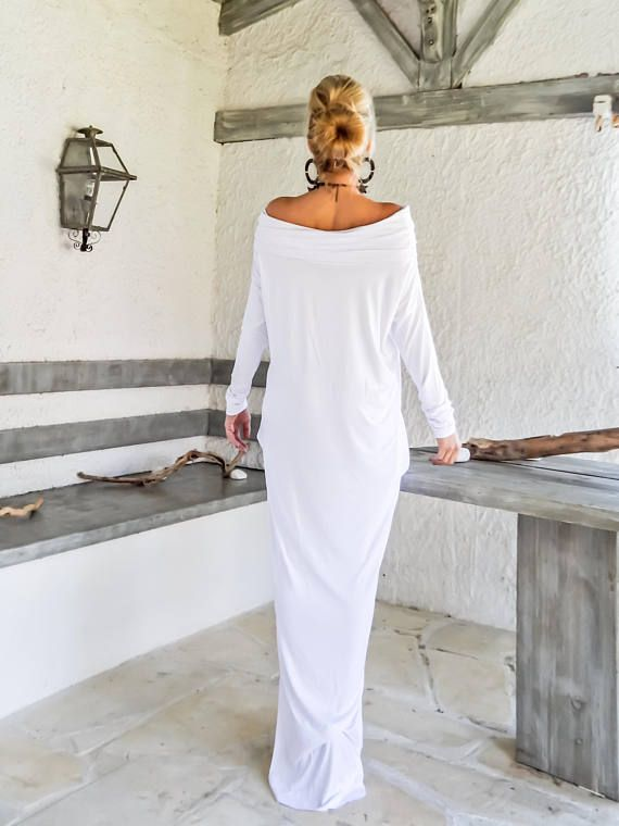 White Maxi Long Sleeve Turtleneck Dress with pockets / White Kaftan / Asymmetric Plus Size Dress / Oversize Loose Dress / #35217   NEW .... MAXI DRESSES 2017 Colorful Maxi dresses for stunning and comfortable look...! A must have for this summer ..! Wear it with flat or heels , and be feminine and elegant ...!    >>> SEE COLOR CHART HERE : https://www.etsy.com/listing/235259897/viscose-color-chart?ref=shop_home_active_4   - Handmade i...
