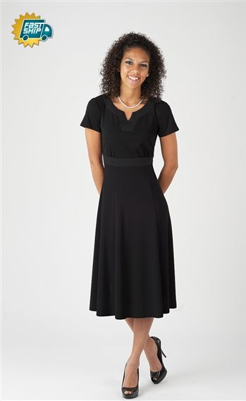 Simple and inexpensive show choir swing dress that could easily be a bridesmaid dress available in black and royal blue $53