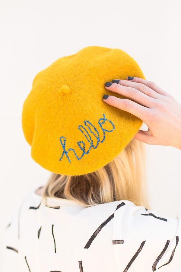 DIY Embroidered Message Beret