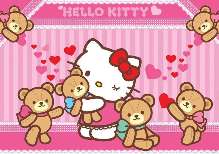 fototapet Hello Kitty and teddybears 2