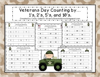 Freebie! Veterans Day number pattern practice.  Fill in the missing numbers  (1's; skip counting by 2's; skip counting by 5's; and ship counting by 10's).