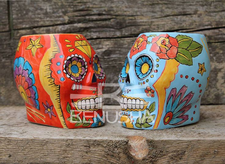 Tiki mugs Cacanki by Benusha - sugar scull. Ceramic mugs.