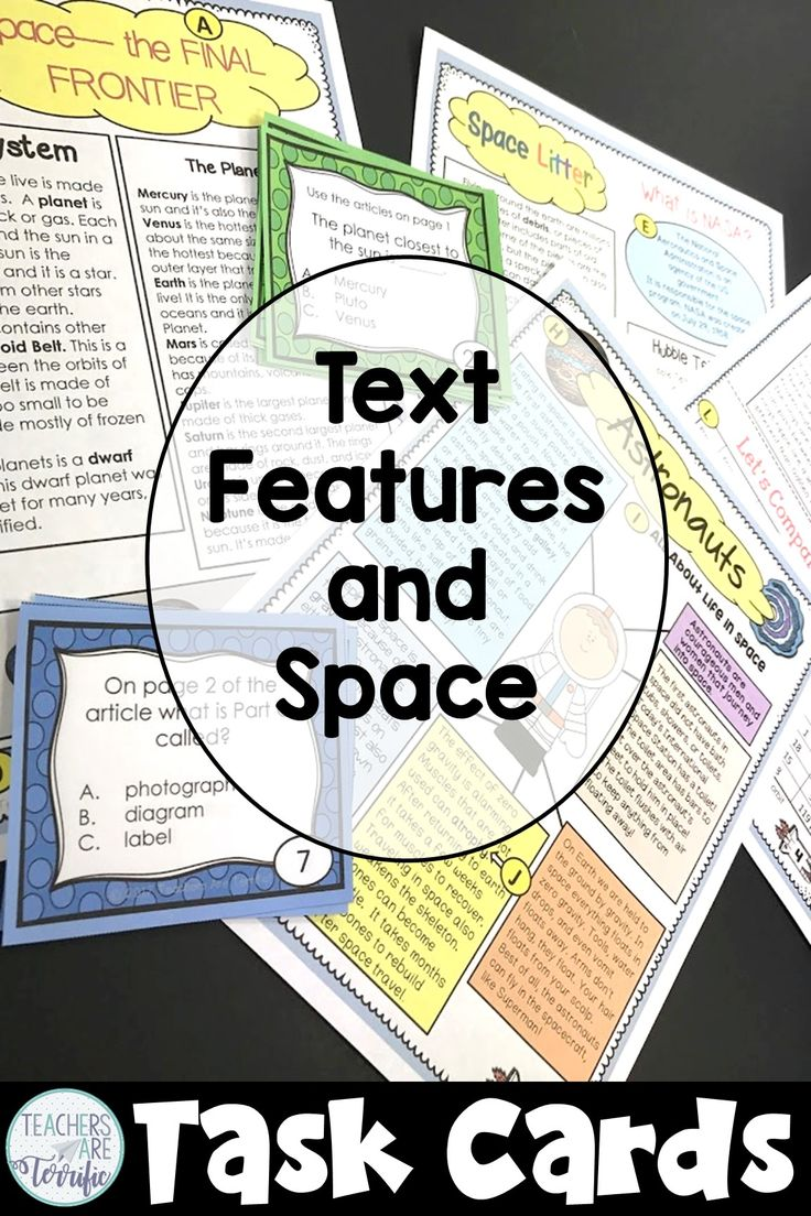 Non fiction text features and task cards all about space exploration!