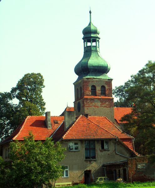 Pastor's house and evangelical church in Ostrowite village 5 km west of Golub-Dobrzyń.