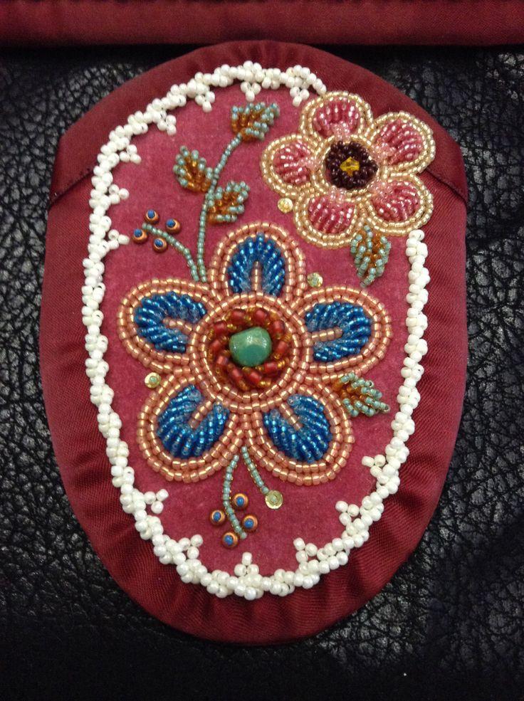 Iroquois moccasin vamp, raised beadwork