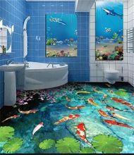 Piso 3d wallpaper cocina mural de fotos personalizados corriente carpa estanque de pintura piso de pvc papel pintado auto-adhesivo del papel pintado planta(China)