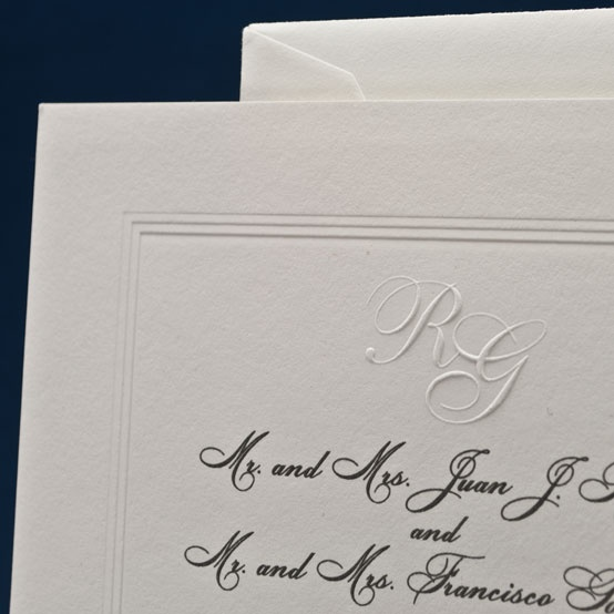 Wedding Invitation. Thermography, blind embossing, debossing