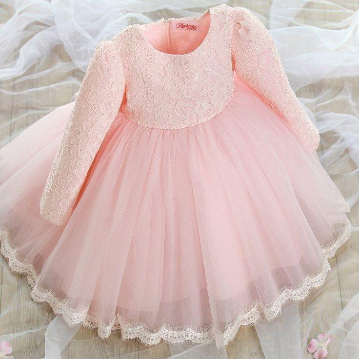 "The ""Reina"" Long Sleeve Pink Lace Dress Flower Girl Dress - Angora Boutique - 2"
