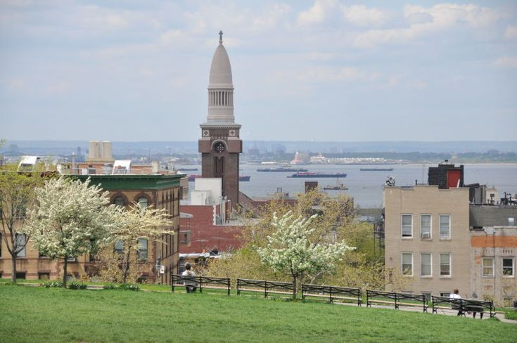 A view of St Michaels Church Steeple from Sunset Park
