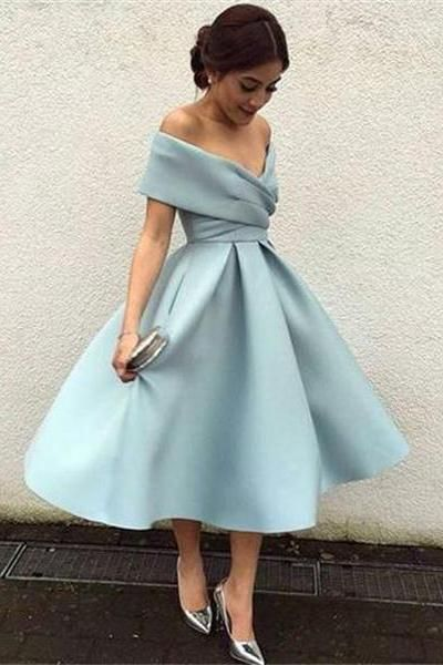 Beautiful Tea Length Off The Shoulder Light Blue Simple Elegant Prom Dresses Z0379
