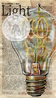 """Light - antique light bulb mixed media miniature (4"""" X 7"""") drawing on distressed, dictionary page - flying shoes art studio"""
