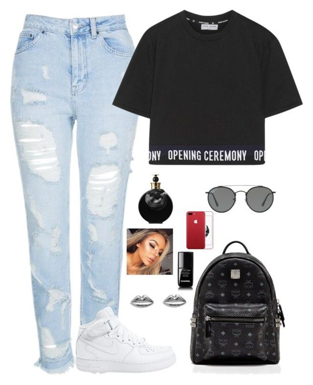 """""""Untitled #487"""" by mariapangal on Polyvore featuring Topshop, Opening Ceremony, NIKE, MCM, Kozminka, Chanel, Valentino and Ray-Ban"""