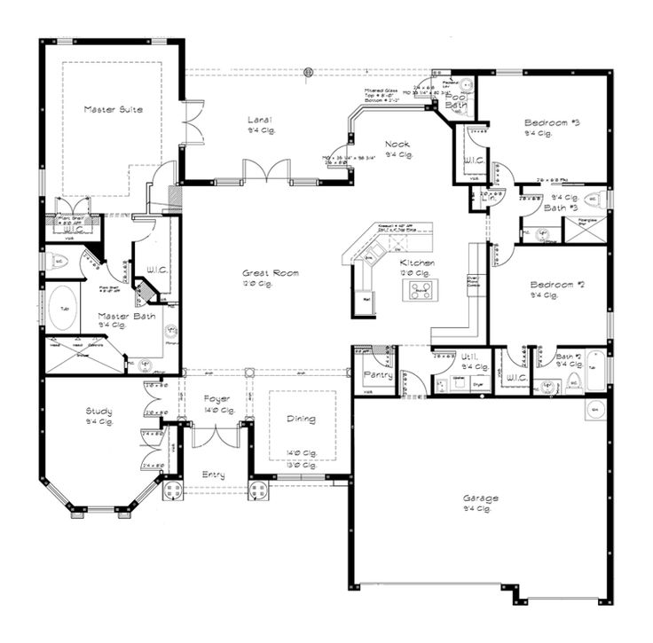 four bedroom one story open floor plan google search - One Story House Plans