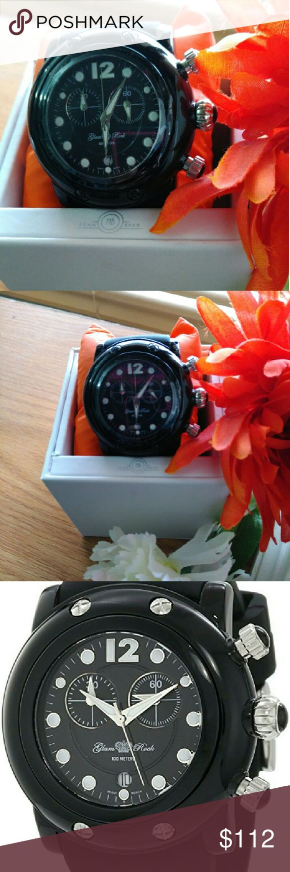 Glam Rock Miami Beach Women's watch Get in time for Christmas! Glam Rock Miami Beach Women's 46mm Chronograph Rubber Mineral Glass Watch. Available in BLACK and ORANGE. NWT. Miami Beach Accessories Watches
