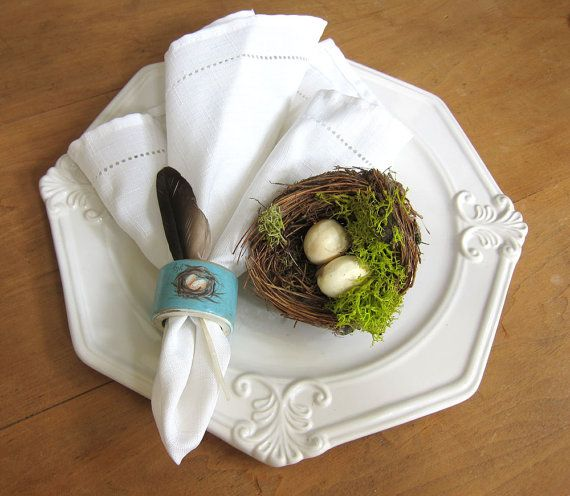French Country Farmhouse Napkin Rings Nest and by ShopOnALark