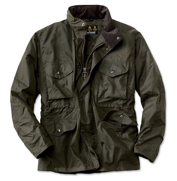 Barbour Sapper Jacket  Every clothing brand at the mall has some sort of military-inspired jacket for sale this fall. So, what's the difference? Well, with Barbour it's quality & tradition. This jacket is the prototype. The British brand has been making sturdy hunting and all-weather coats since the 1850s. This insulated model comes finished in their signature 6-oz. Sylkoil Waxed Cotton with a stowed hood and four patch pockets. Built for gloomy days on the highlands or wherever you wend.