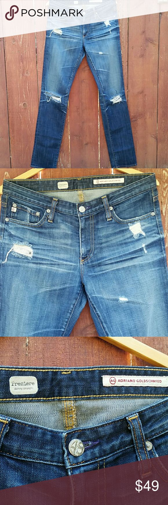 🎀AG ADRIANO GOLDSCHMIED DISTRESSED Premiere AG ADRIANO GOLDSCHMIED PREMIERE SKINNY STRAIGHT JEANS.  SIZE 29R. 98% COTTON,  2% PU Ag Adriano Goldschmied Jeans Straight Leg