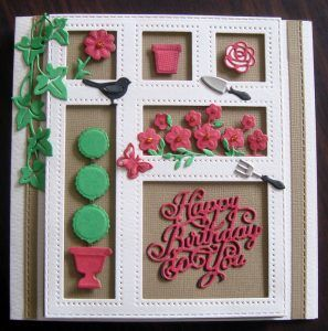 Shadow box Die - In the Garden with Happy Birthday and Window Box ccessories