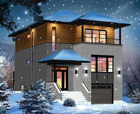Plan 22337dr drive under narrow lot basements and bedrooms for Modern home designs for narrow lots