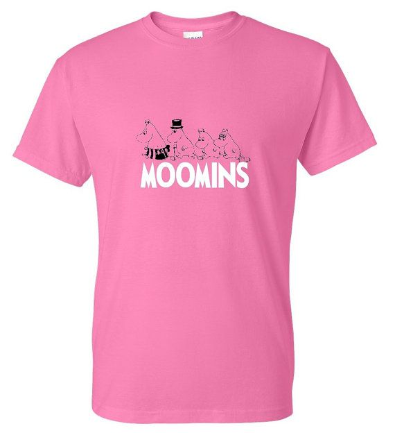 Here we have a screen printed Moomins inspired T-Shirt  Ladies shirts are printed on Gildan Softstyle.  Quality Guaranteed if you dont like our