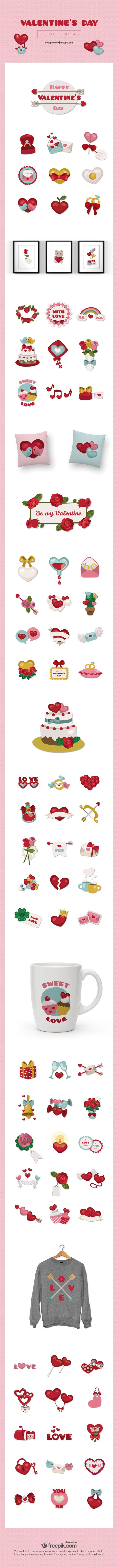 Free Download : A Huge Set Of Valentine's Day Vector Elements