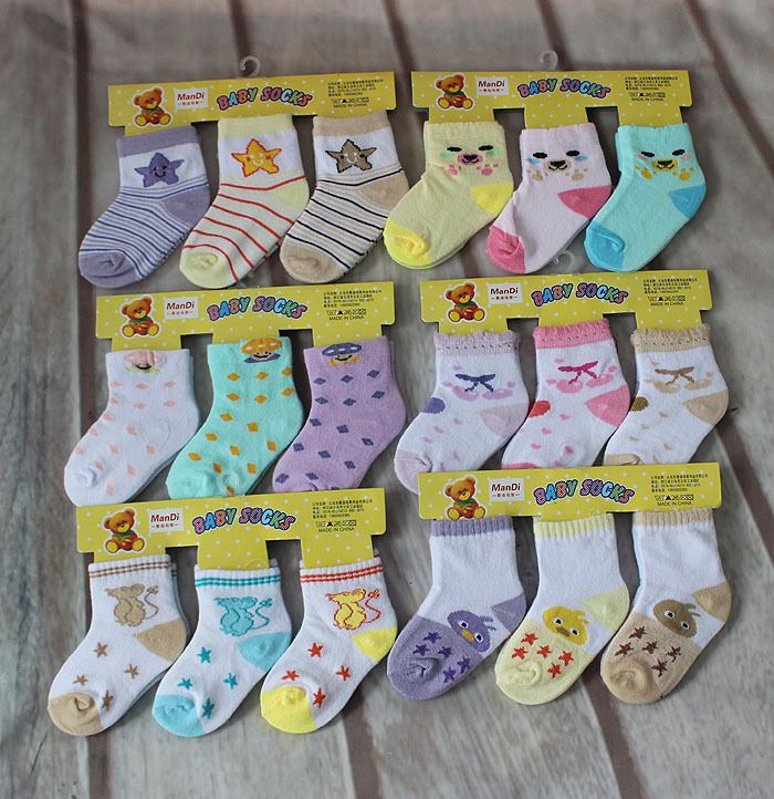 6 pairs lot 4 to 12 months fashion boys girls baby socks cartoon newborn kids cotton sock random color hot selling uhu017