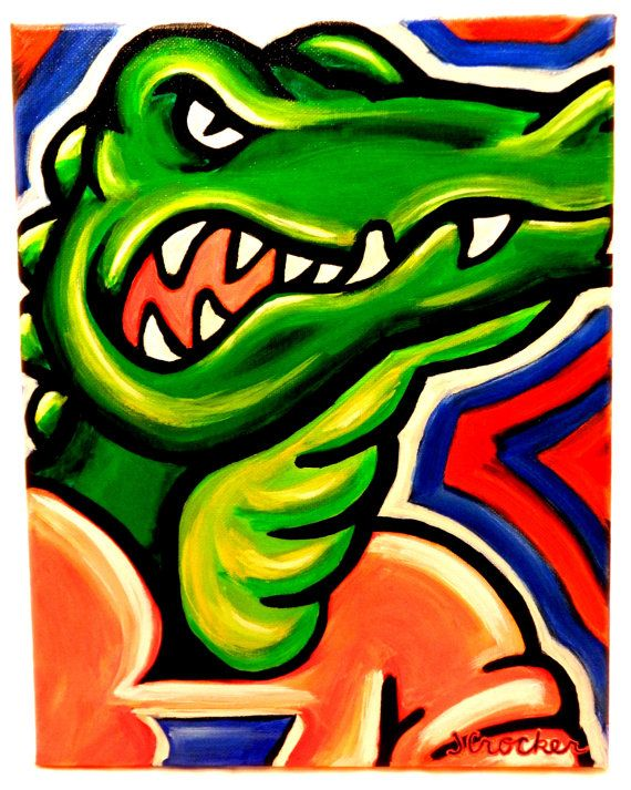 Florida Gators painting sports art college by crockerart on Etsy, $40.00
