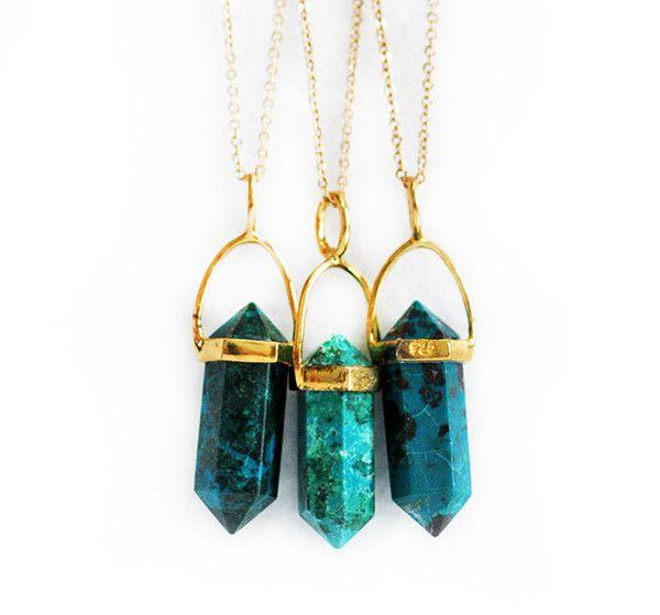 CHRYSOCOLLA point necklace - petite   Kei Jewelry
