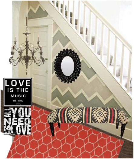 coral-gray-entryway - love the colors! From DIY Showoff