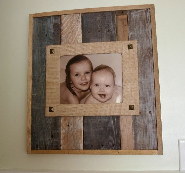 Reclaimed Wood and Burlap Picture Frame