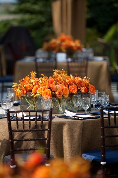 Orange tablescapes #weddings #tablescapes #orange - it has the chiavari chairs and is that a burlap tablecloth? Love this!